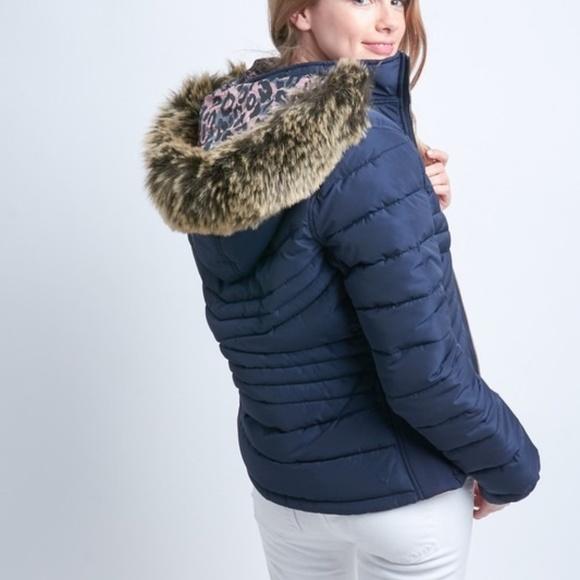 12 Pm By Mon Ami Jackets & Blazers - Reversible solid/leopard puffer jacket w/ hood